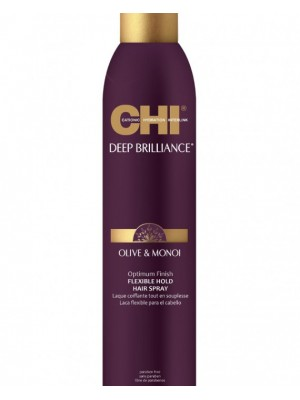 CHI Deep Brilliance Lanksčios fiksacijos plaukų lakas su alyvuogių ir Monoi aliejais, 74g