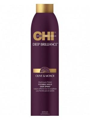 CHI Deep Brilliance Lanksčios fiksacijos plaukų lakas su alyvuogių ir Monoi aliejais, 284g